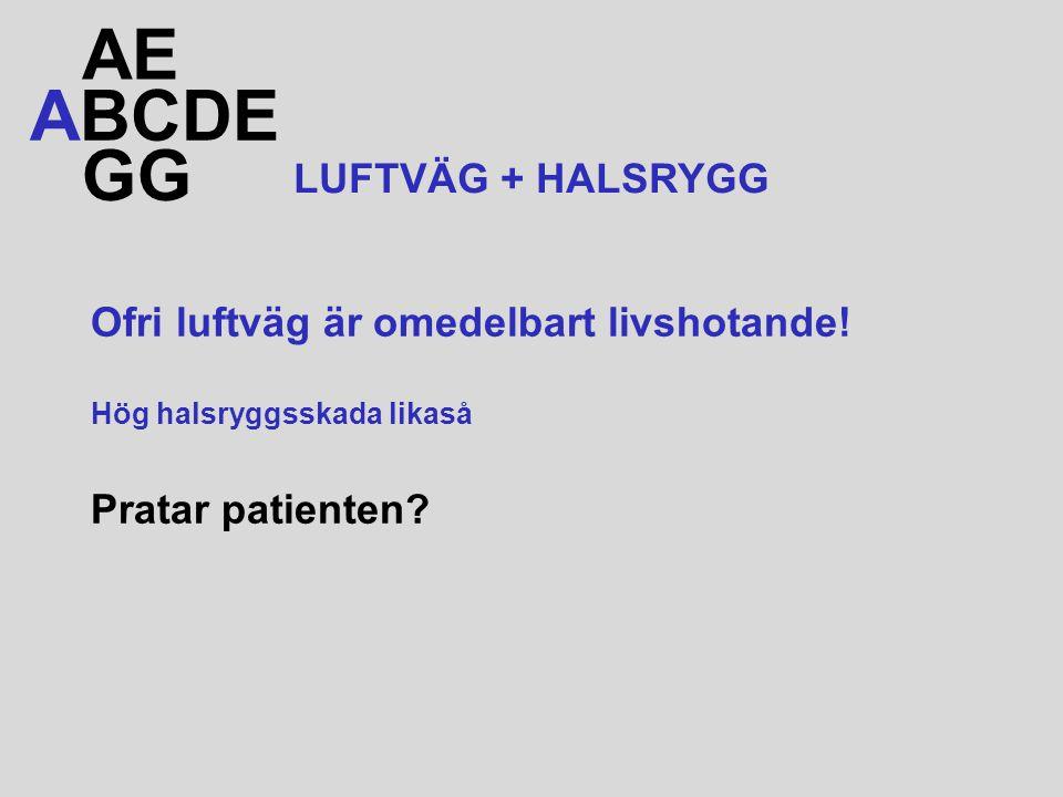 Ofri luftväg är omedelbart livshotande! Hög halsryggsskada likaså Pratar patienten? ABCDE AE GG LUFTVÄG + HALSRYGG