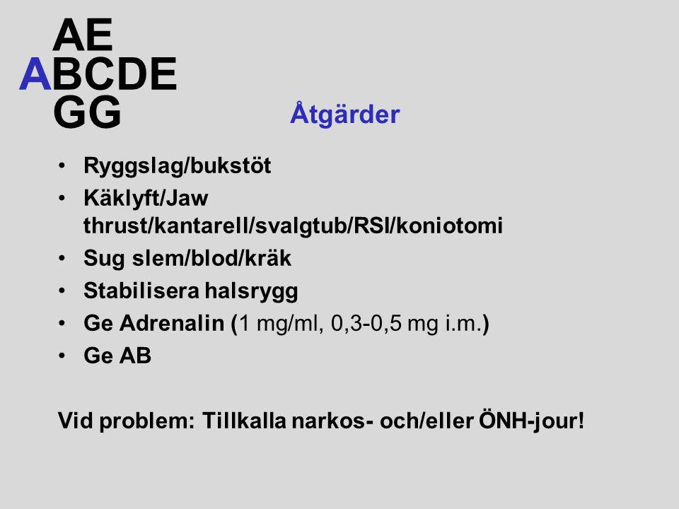 Ryggslag/bukstöt Käklyft/Jaw thrust/kantarell/svalgtub/RSI/koniotomi Sug slem/blod/kräk Stabilisera halsrygg Ge Adrenalin (1 mg/ml, 0,3-0,5 mg i.m.) Ge AB Vid problem: Tillkalla narkos- och/eller ÖNH-jour.
