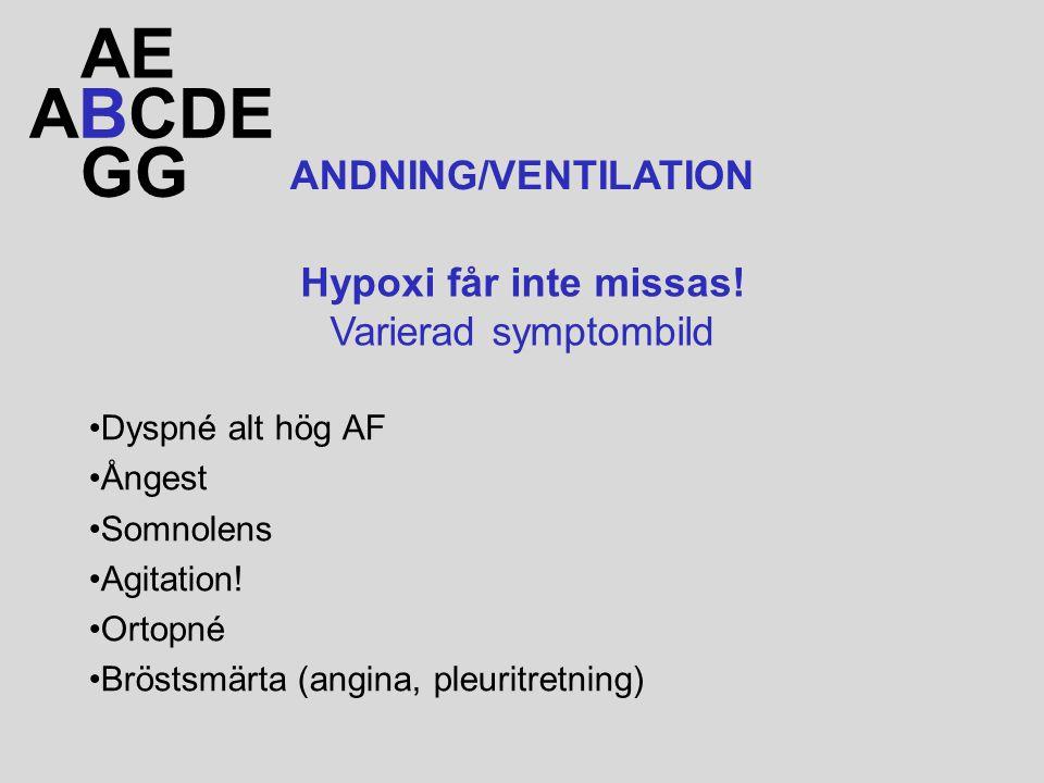 Dyspné alt hög AF Ångest Somnolens Agitation! Ortopné Bröstsmärta (angina, pleuritretning) ABCDE AE GG ANDNING/VENTILATION Hypoxi får inte missas! Var