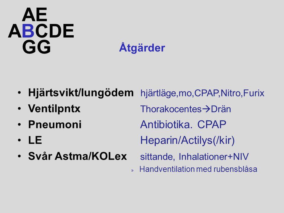 ABCDE AE GG Åtgärder Hjärtsvikt/lungödem hjärtläge,mo,CPAP,Nitro,Furix Ventilpntx Thorakocentes  Drän Pneumoni Antibiotika. CPAP LE Heparin/Actilys(/