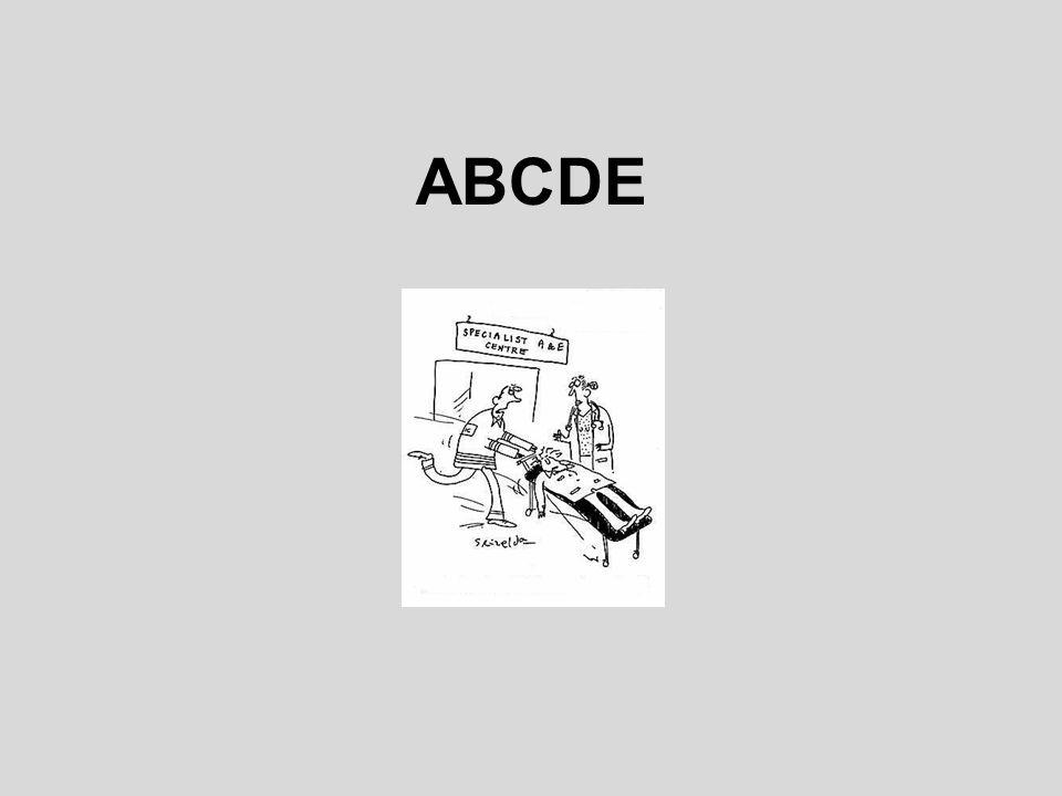 ABCDE AE GG Åtgärd Glu 30%, 30ml IV, Glukagon 1mg/ml, 1ml IM DKA: vätska + GIK LP m tryckmätn.