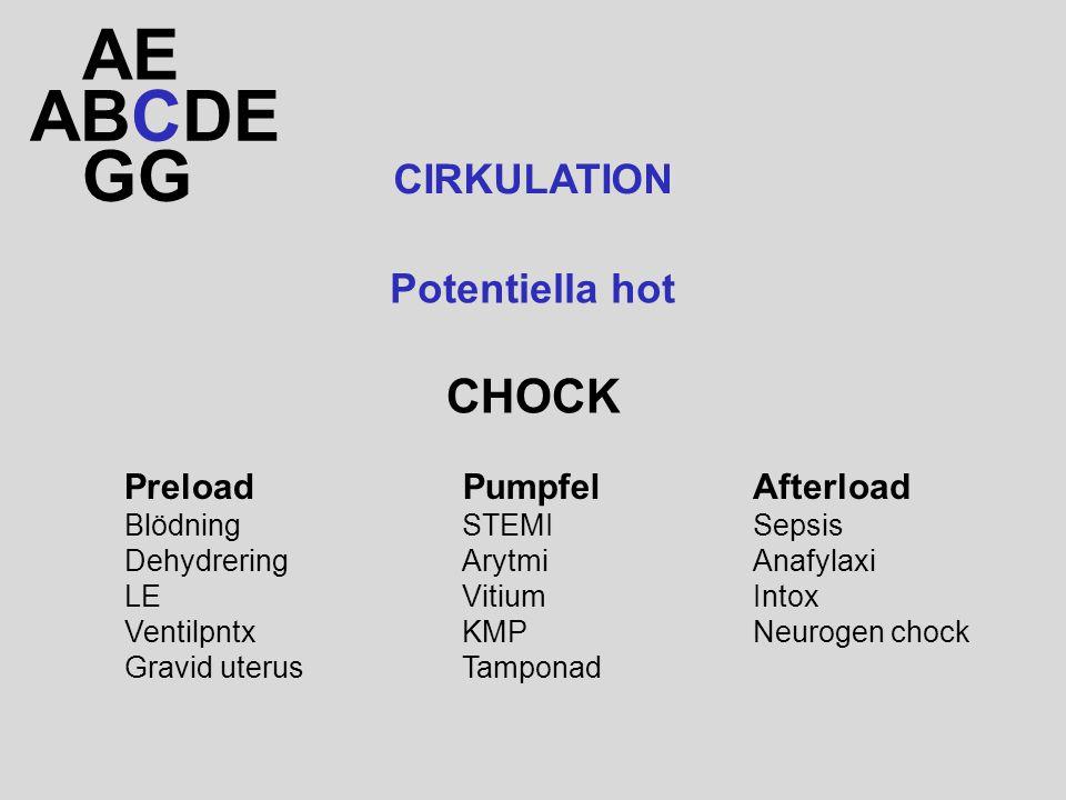 ABCDE AE GG CIRKULATION CHOCK Potentiella hot Preload Blödning Dehydrering LE Ventilpntx Gravid uterus Pumpfel STEMI Arytmi Vitium KMP Tamponad Afterload Sepsis Anafylaxi Intox Neurogen chock