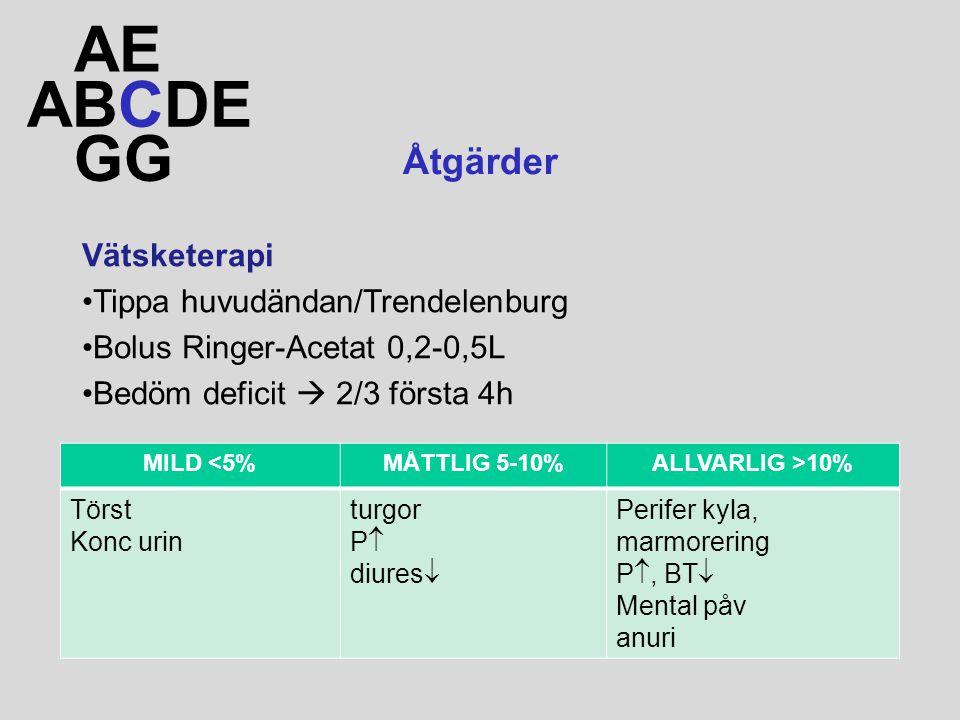 ABCDE AE GG Åtgärder Vätsketerapi Tippa huvudändan/Trendelenburg Bolus Ringer-Acetat 0,2-0,5L Bedöm deficit  2/3 första 4h MILD <5%MÅTTLIG 5-10%ALLVARLIG >10% Törst Konc urin turgor P  diures  Perifer kyla, marmorering P , BT  Mental påv anuri