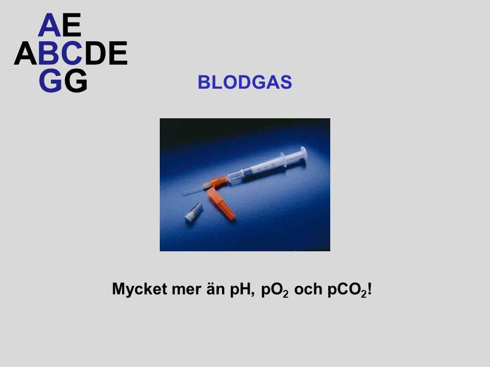 ABCDE AEAE G BLODGAS Mycket mer än pH, pO 2 och pCO 2 !