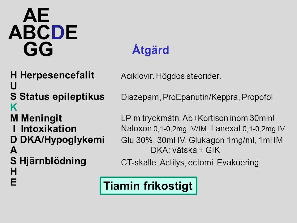 ABCDE AE GG Åtgärd Glu 30%, 30ml IV, Glukagon 1mg/ml, 1ml IM DKA: vätska + GIK LP m tryckmätn. Ab+Kortison inom 30min! Diazepam, ProEpanutin/Keppra, P