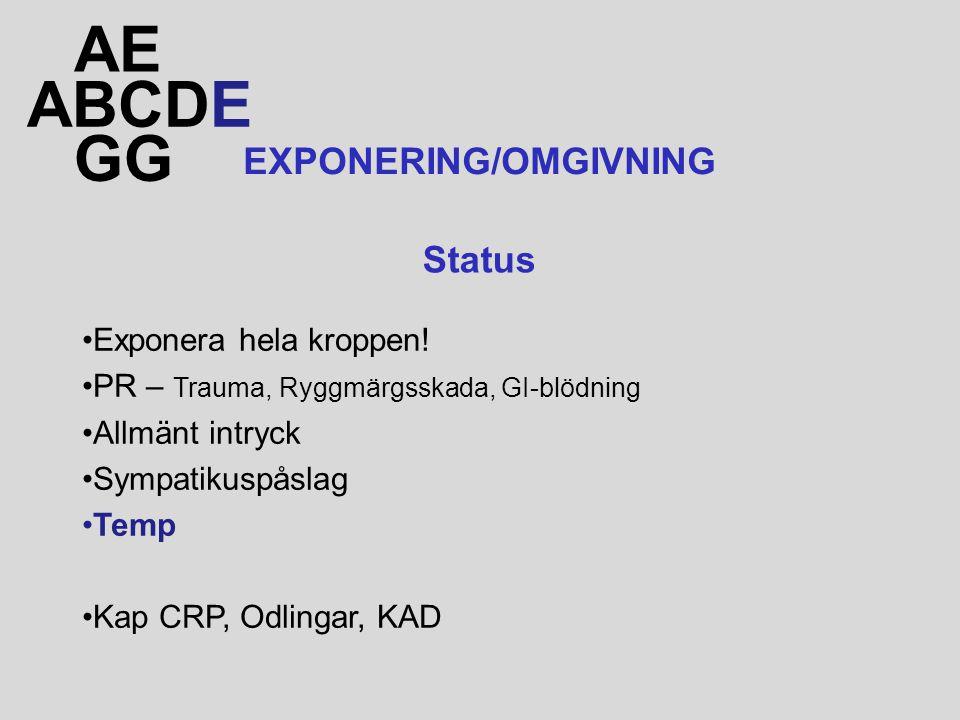 ABCDE AE GG EXPONERING/OMGIVNING Exponera hela kroppen! PR – Trauma, Ryggmärgsskada, GI-blödning Allmänt intryck Sympatikuspåslag Temp Kap CRP, Odling