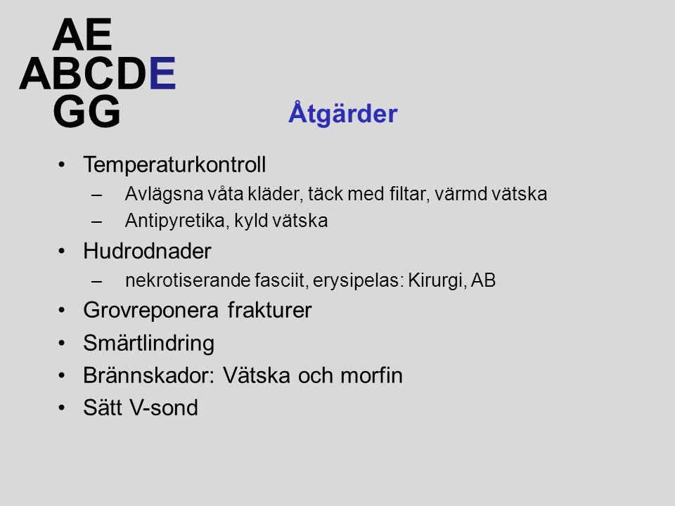 ABCDE AE GG Åtgärder Temperaturkontroll –Avlägsna våta kläder, täck med filtar, värmd vätska –Antipyretika, kyld vätska Hudrodnader –nekrotiserande fasciit, erysipelas: Kirurgi, AB Grovreponera frakturer Smärtlindring Brännskador: Vätska och morfin Sätt V-sond