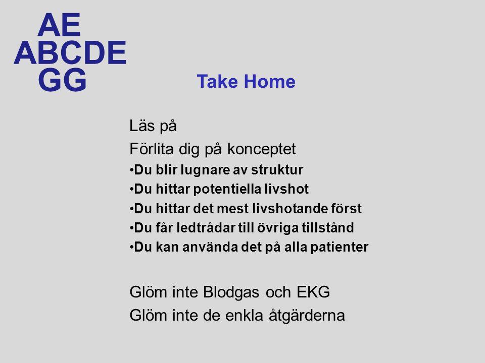 ABCDE AE GG Läs på Förlita dig på konceptet Du blir lugnare av struktur Du hittar potentiella livshot Du hittar det mest livshotande först Du får ledtrådar till övriga tillstånd Du kan använda det på alla patienter Glöm inte Blodgas och EKG Glöm inte de enkla åtgärderna Take Home