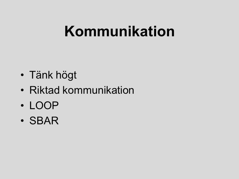 Kommunikation Tänk högt Riktad kommunikation LOOP SBAR