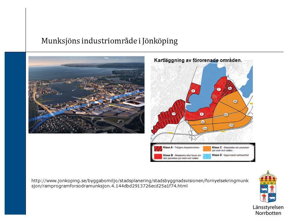 Munksjöns industriområde i Jönköping Kartläggning av förorenade områden. http://www.jonkoping.se/byggabomiljo/stadsplanering/stadsbyggnadsvisionen/for