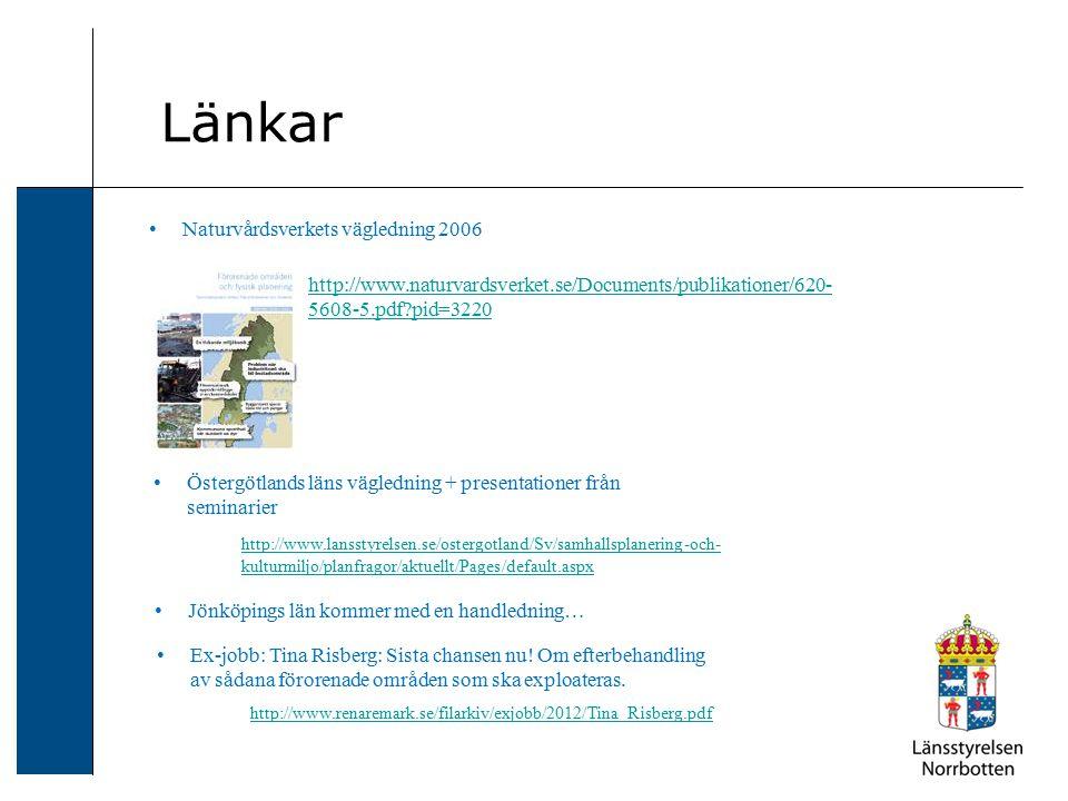 Länkar http://www.naturvardsverket.se/Documents/publikationer/620- 5608-5.pdf?pid=3220 http://www.lansstyrelsen.se/ostergotland/Sv/samhallsplanering-o
