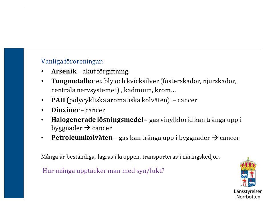 Vanliga föroreningar: Arsenik – akut förgiftning. Tungmetaller ex bly och kvicksilver (fosterskador, njurskador, centrala nervsystemet ), kadmium, kro