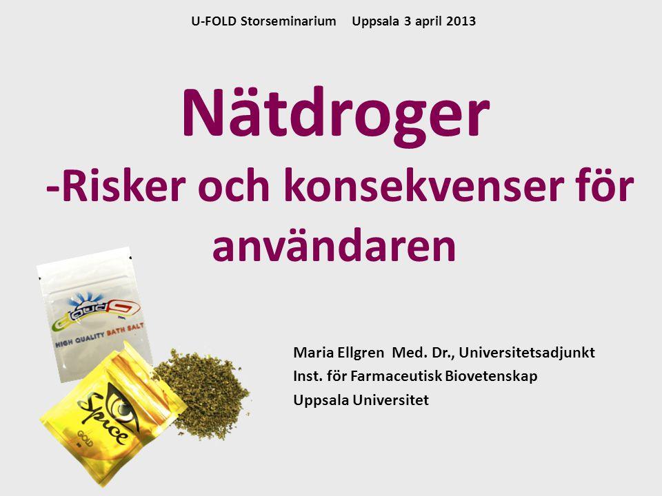 Maria Ellgren Med. Dr., Universitetsadjunkt Inst. för Farmaceutisk Biovetenskap Uppsala Universitet Nätdroger -Risker och konsekvenser för användaren