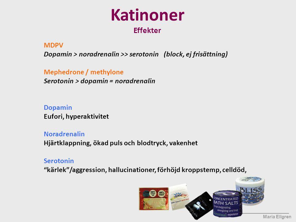 ____________________ Maria Ellgren MDPV Dopamin > noradrenalin >> serotonin (block, ej frisättning) Mephedrone / methylone Serotonin > dopamin = norad