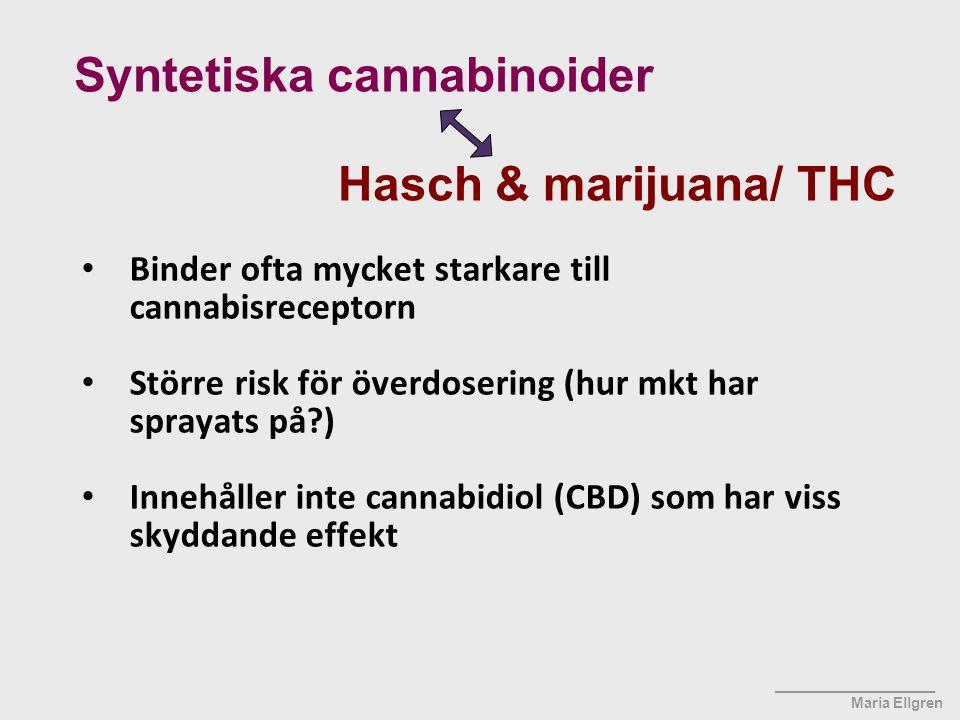 ____________________ Maria Ellgren Binder ofta mycket starkare till cannabisreceptorn Större risk för överdosering (hur mkt har sprayats på?) Innehåll