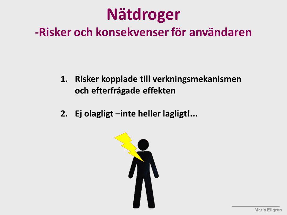 ____________________ Maria Ellgren Nätdroger -Risker och konsekvenser för användaren 1.Risker kopplade till verkningsmekanismen och efterfrågade effek