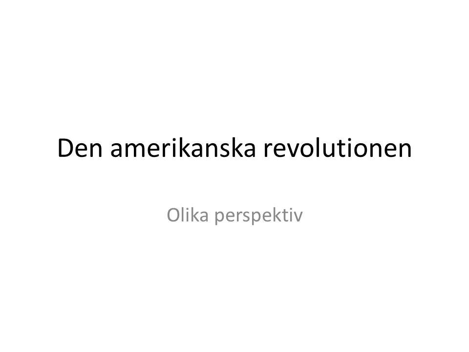 Den amerikanska revolutionen Olika perspektiv