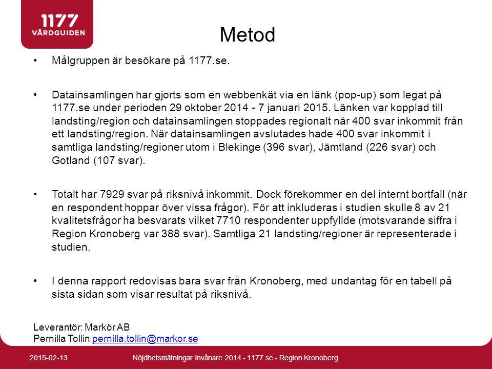 Målgruppen är besökare på 1177.se. Datainsamlingen har gjorts som en webbenkät via en länk (pop-up) som legat på 1177.se under perioden 29 oktober 201