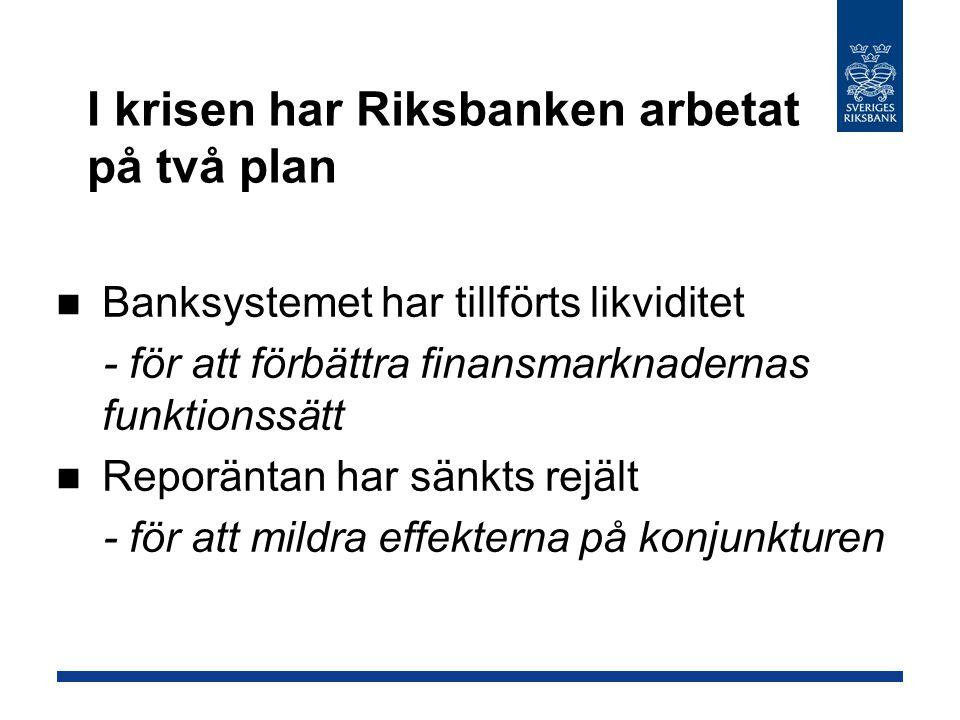 I krisen har Riksbanken arbetat på två plan Banksystemet har tillförts likviditet - för att förbättra finansmarknadernas funktionssätt Reporäntan har sänkts rejält - för att mildra effekterna på konjunkturen
