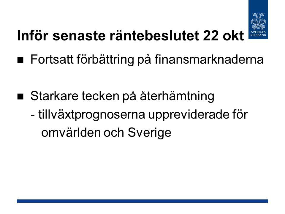 Inför senaste räntebeslutet 22 okt Fortsatt förbättring på finansmarknaderna Starkare tecken på återhämtning - tillväxtprognoserna uppreviderade för omvärlden och Sverige