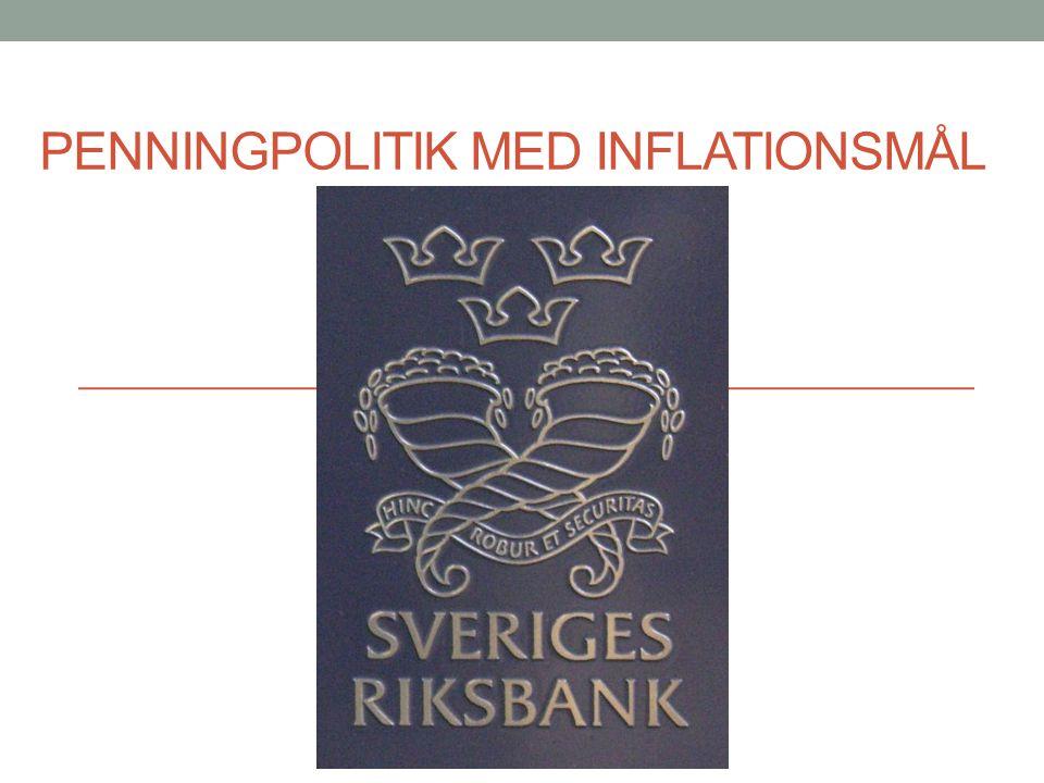 Stabiliseringspolitik Finanspolitik Riksdagen Statsbudgeten Offentliga utgifter Penningpolitik Riksbanken Reporäntan Inflationen max 2% Gemensam uppgift: Att stabilisera över konjunkturcykler.