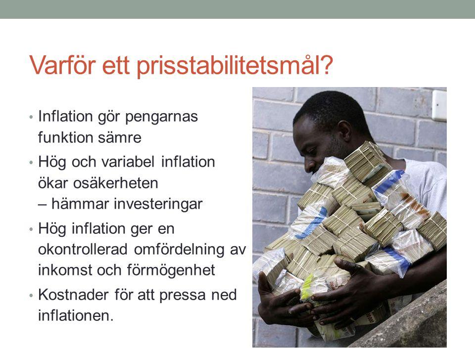 Varför ett prisstabilitetsmål? Inflation gör pengarnas funktion sämre Hög och variabel inflation ökar osäkerheten – hämmar investeringar Hög inflation