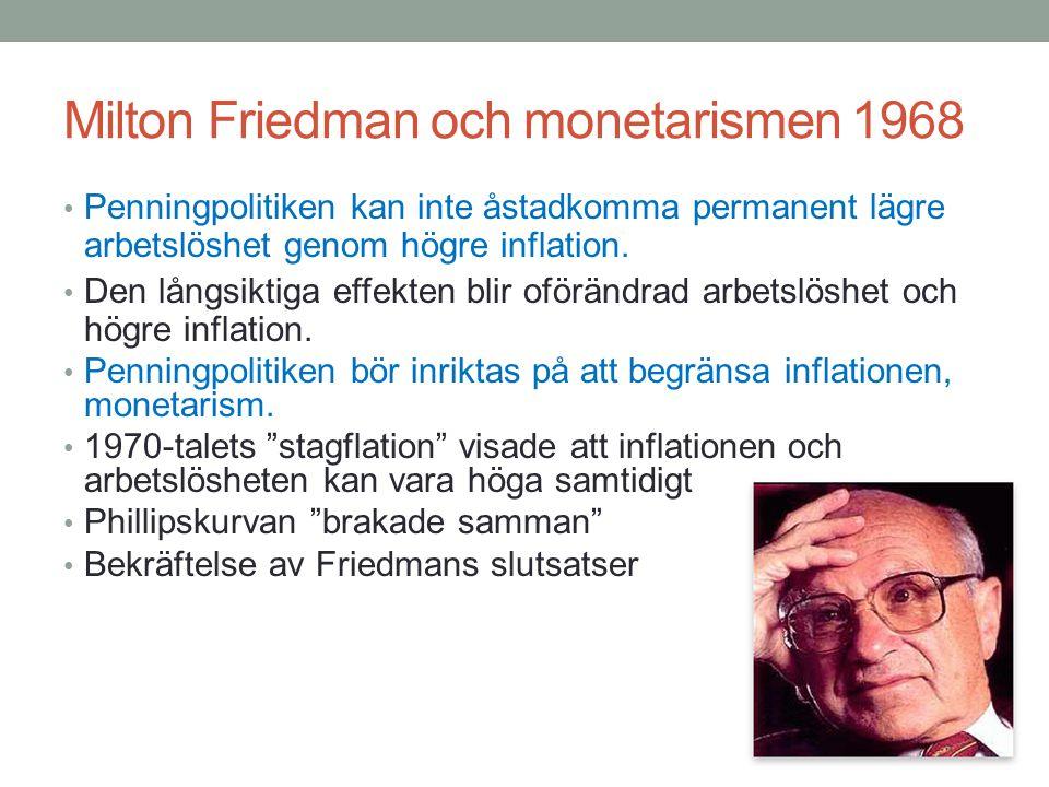 Milton Friedman och monetarismen 1968 Penningpolitiken kan inte åstadkomma permanent lägre arbetslöshet genom högre inflation. Den långsiktiga effekte