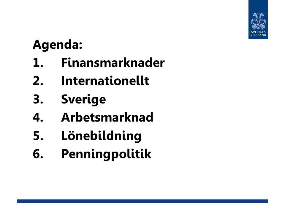 Agenda: 1.Finansmarknader 2.Internationellt 3.Sverige 4.Arbetsmarknad 5.Lönebildning 6.Penningpolitik