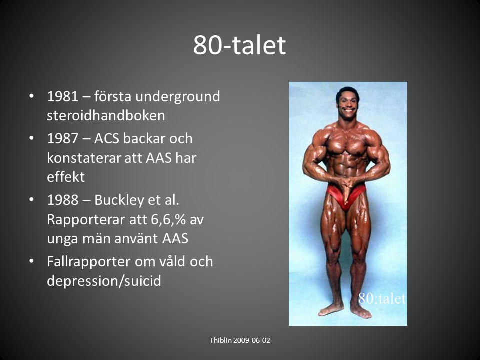 80-talet 1981 – första underground steroidhandboken 1987 – ACS backar och konstaterar att AAS har effekt 1988 – Buckley et al. Rapporterar att 6,6,% a