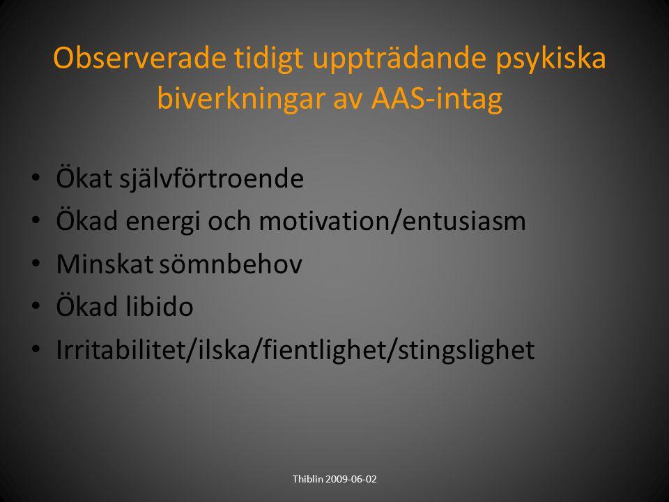 Observerade tidigt uppträdande psykiska biverkningar av AAS-intag Ökat självförtroende Ökad energi och motivation/entusiasm Minskat sömnbehov Ökad lib