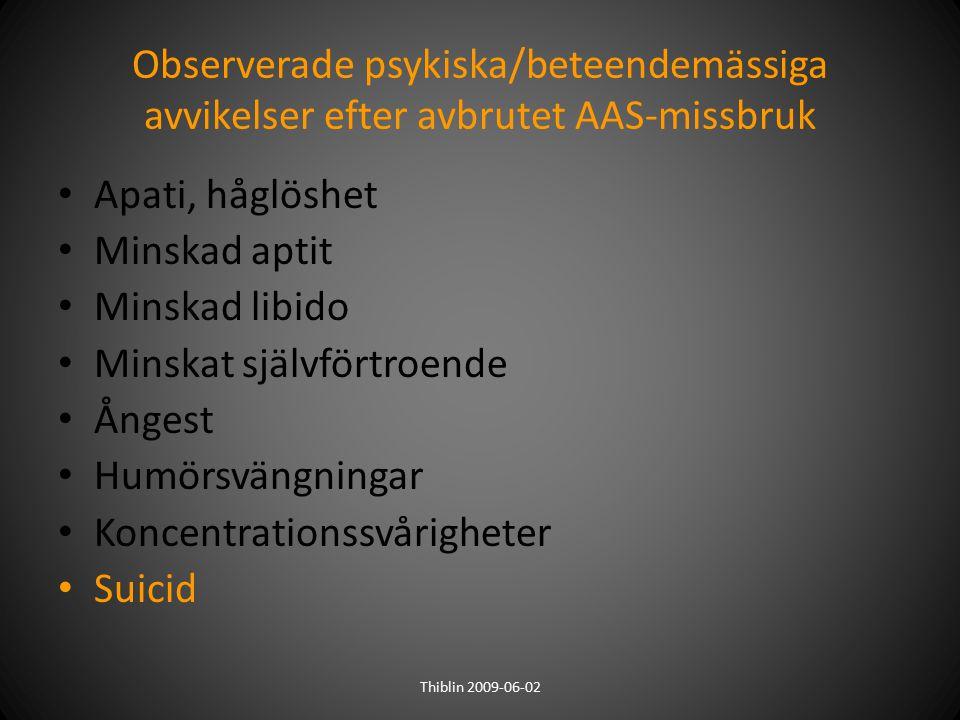 Observerade psykiska/beteendemässiga avvikelser efter avbrutet AAS-missbruk Apati, håglöshet Minskad aptit Minskad libido Minskat självförtroende Ånge