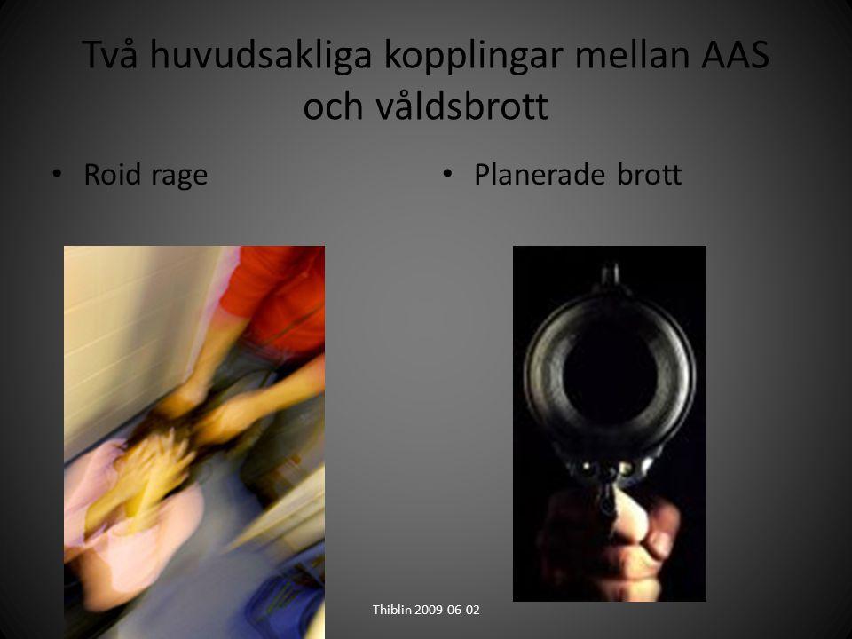 Två huvudsakliga kopplingar mellan AAS och våldsbrott Roid rage Planerade brott Thiblin 2009-06-02