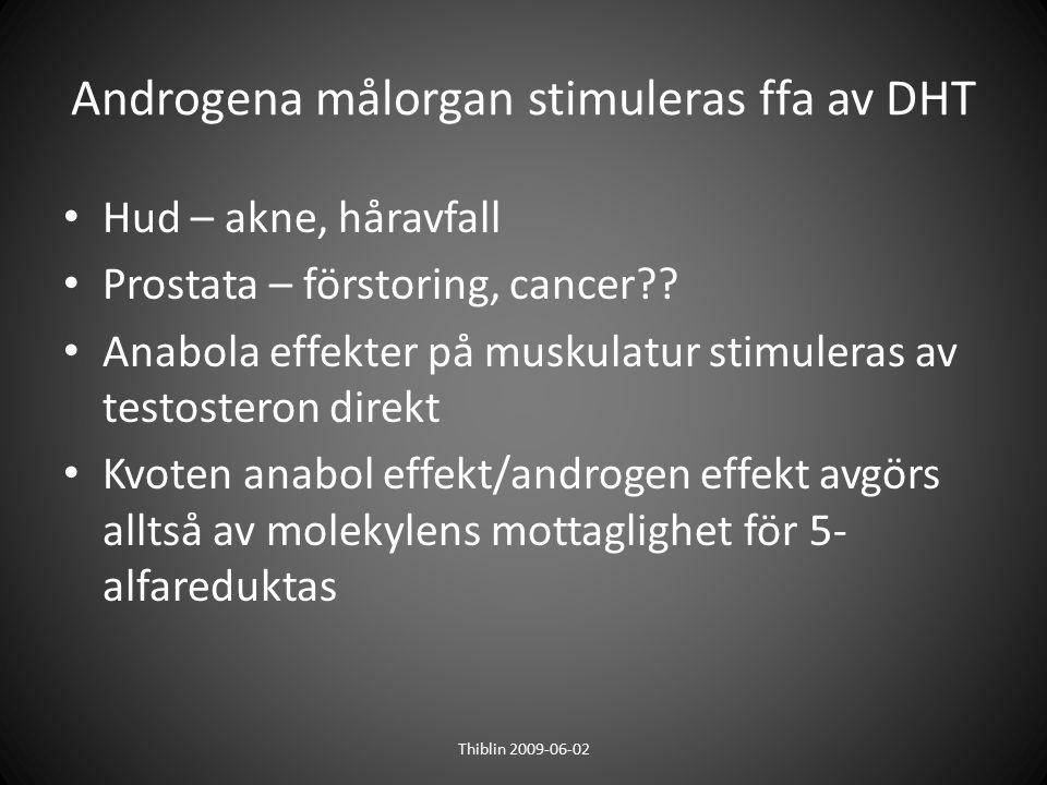 Androgena målorgan stimuleras ffa av DHT Hud – akne, håravfall Prostata – förstoring, cancer?? Anabola effekter på muskulatur stimuleras av testostero