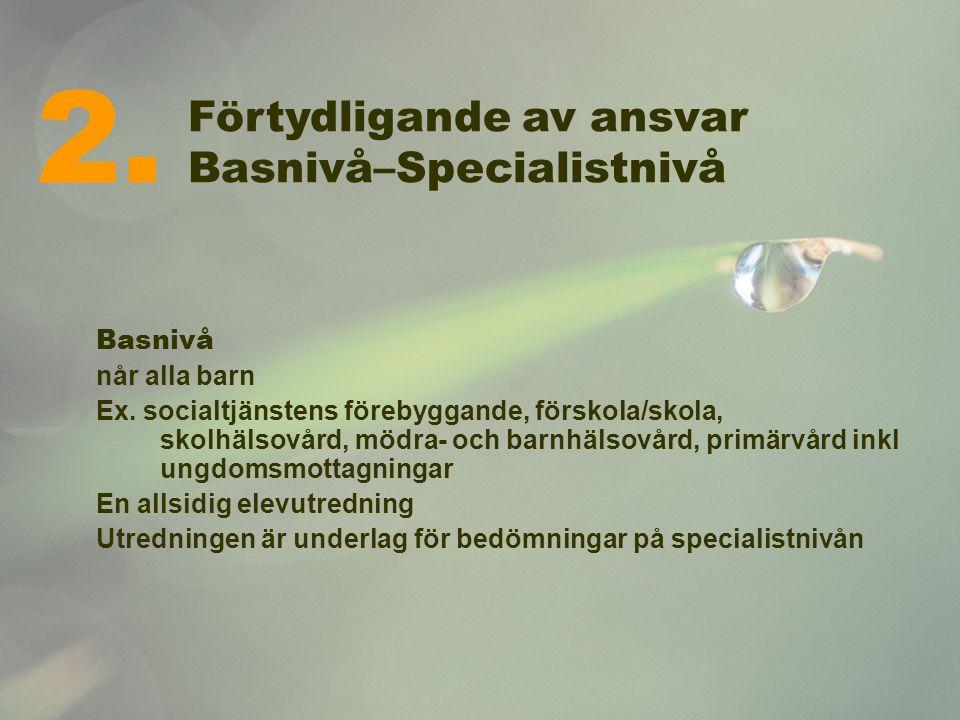 Förtydligande av ansvar Basnivå–Specialistnivå Basnivå når alla barn Ex. socialtjänstens förebyggande, förskola/skola, skolhälsovård, mödra- och barnh