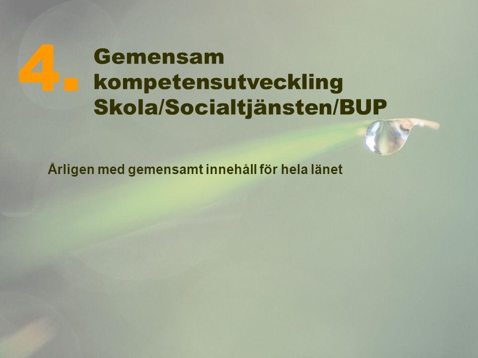 Gemensam kompetensutveckling Skola/Socialtjänsten/BUP Årligen med gemensamt innehåll för hela länet 4.