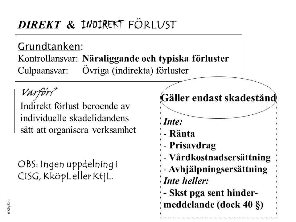 FEL 40 § DirektIndirekt Kontroll, 1 st Styrkt vållande/ Särskild utfästelse, 3 st Sn: JA Kn: NEJ När uppdelning direkt/indirekt förlust.