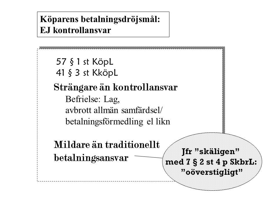 57 § 1 st KöpL 41 § 3 st KköpL Strängare än kontrollansvar Befrielse: Lag, avbrott allmän samfärdsel/ betalningsförmedling el likn Mildare än traditio