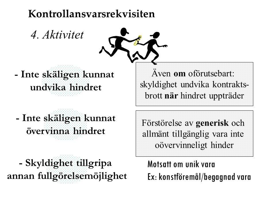 4. Aktivitet Även om oförutsebart: skyldighet undvika kontrakts- brott när hindret uppträder Förstörelse av generisk och allmänt tillgänglig vara inte