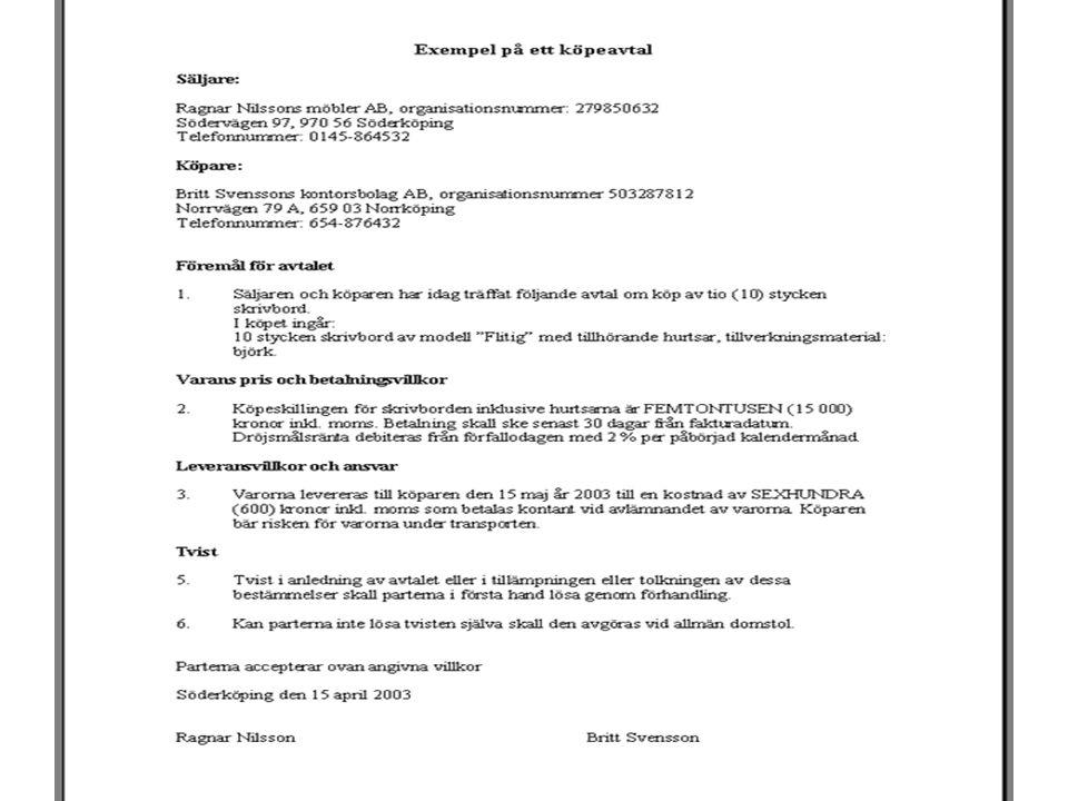 Varans beskaffenhet Överensstämmelse med avtalet m.