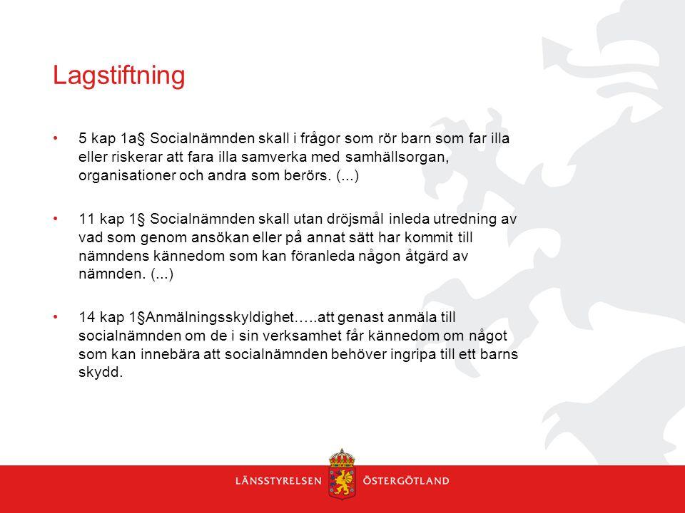 Lagstiftning 5 kap 1a§ Socialnämnden skall i frågor som rör barn som far illa eller riskerar att fara illa samverka med samhällsorgan, organisationer