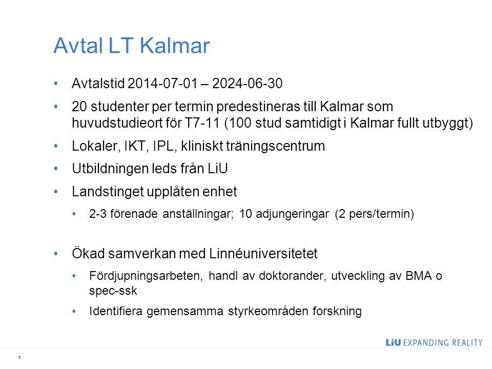 Avtal LT Kalmar Avtalstid 2014-07-01 – 2024-06-30 20 studenter per termin predestineras till Kalmar som huvudstudieort för T7-11 (100 stud samtidigt i