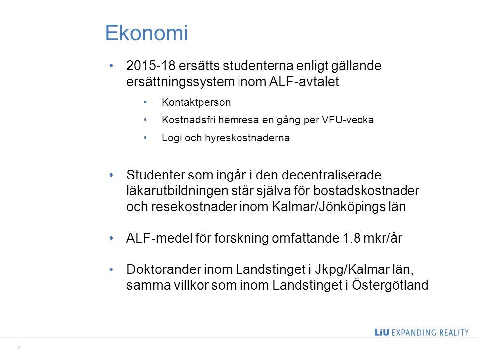 Ekonomi 2015-18 ersätts studenterna enligt gällande ersättningssystem inom ALF-avtalet Kontaktperson Kostnadsfri hemresa en gång per VFU-vecka Logi oc