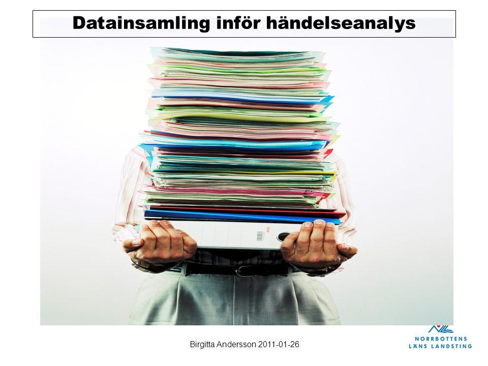Birgitta Andersson 2011-01-26 Datainsamling inför händelseanalys