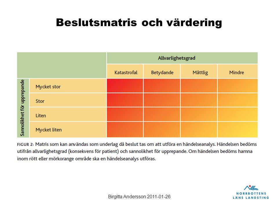 Birgitta Andersson 2011-01-26 Beslutsmatris och värdering