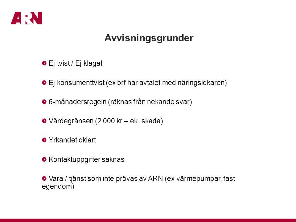 Avvisningsgrunder Ej tvist / Ej klagat Ej konsumenttvist (ex brf har avtalet med näringsidkaren) 6-månadersregeln (räknas från nekande svar) Värdegränsen (2 000 kr – ek.