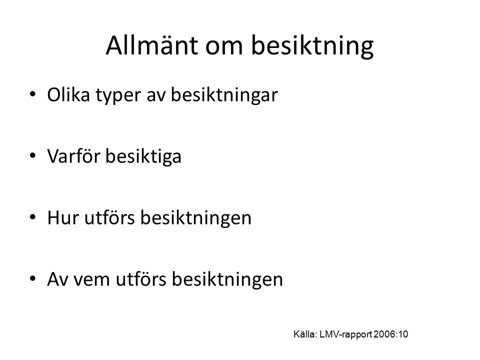 Allmänt om besiktning Olika typer av besiktningar Varför besiktiga Hur utförs besiktningen Av vem utförs besiktningen Källa: LMV-rapport 2006:10