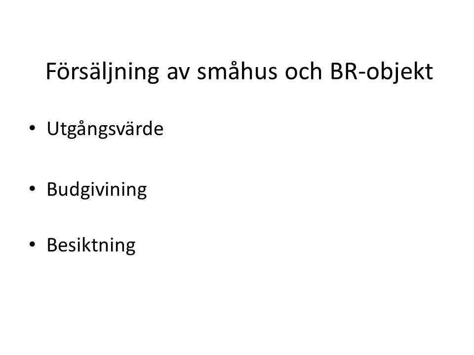 Försäljning av småhus och BR-objekt Utgångsvärde Budgivining Besiktning