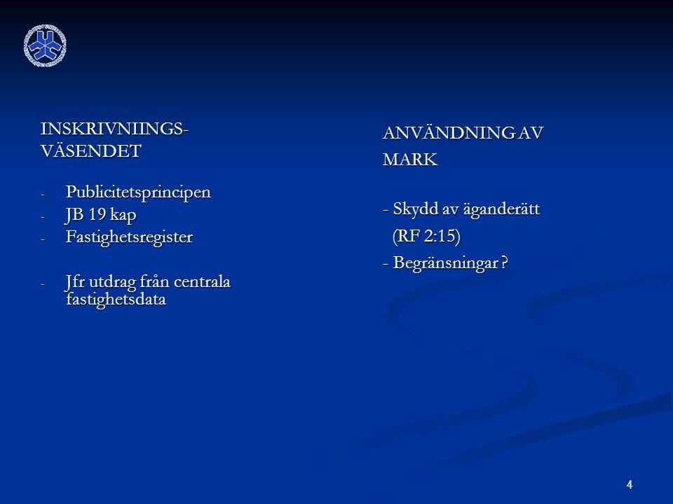 4 INSKRIVNIINGS-VÄSENDET - Publicitetsprincipen - JB 19 kap - Fastighetsregister - Jfr utdrag från centrala fastighetsdata ANVÄNDNING AV MARK - Skydd av äganderätt (RF 2:15) - Begränsningar ?