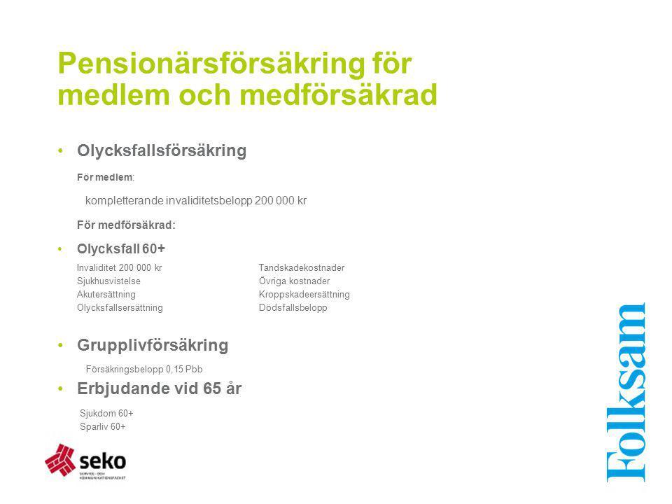 Pensionärsförsäkring för medlem och medförsäkrad Olycksfallsförsäkring För medlem: kompletterande invaliditetsbelopp 200 000 kr För medförsäkrad: Olyc