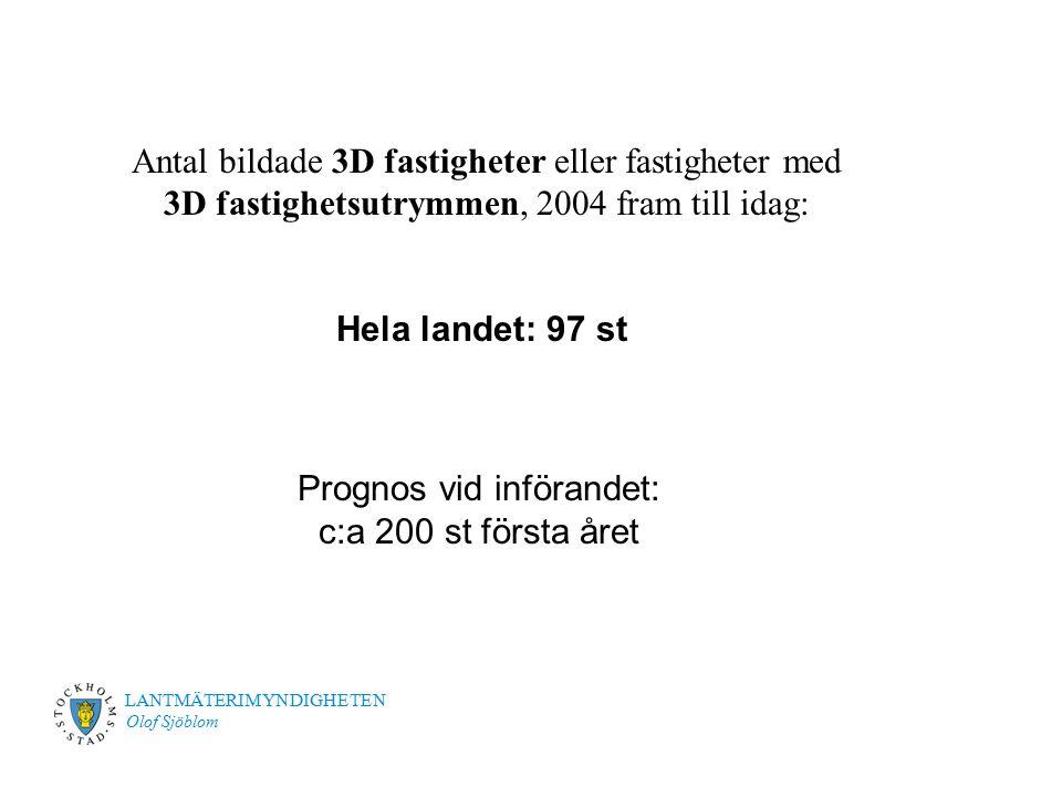 LANTMÄTERIMYNDIGHETEN Olof Sjöblom Antal bildade 3D fastigheter eller fastigheter med 3D fastighetsutrymmen, 2004 fram till idag: Hela landet: 97 st P